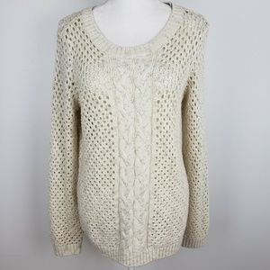 Tommy Bahama Cable Knit Sweater Gold Metallic